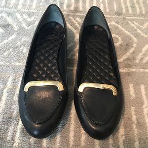 Black Leather Loafer Flat, Size 6